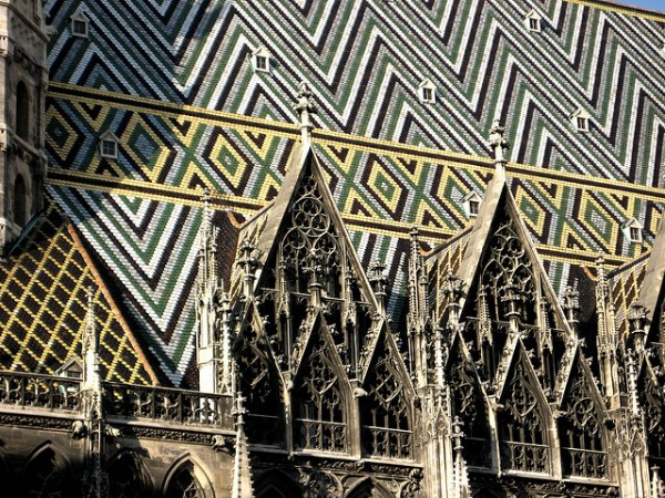 The brick roof of the Stephansdom in Vienna