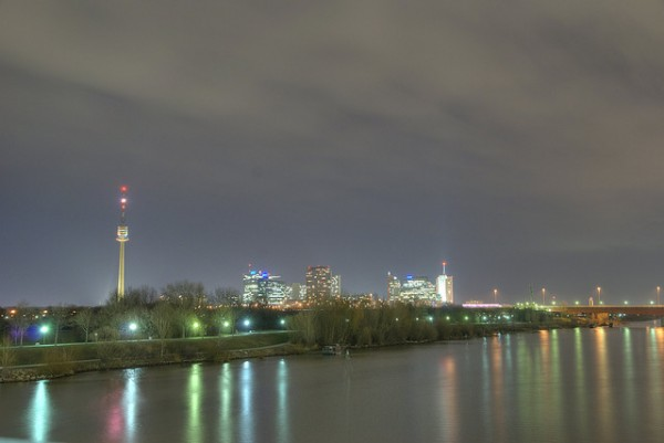 Donauturm Observatory Tower in Vienna at night