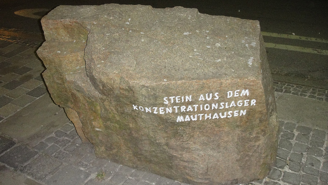The memorial stone near the house of Hitler