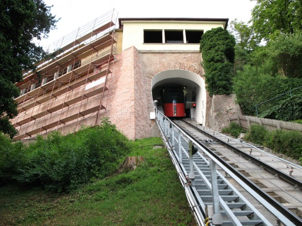 The funicular to the Schlossberg Hill in Graz
