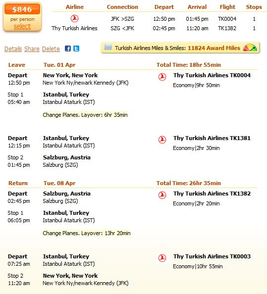 Thy Turkish Airlines flight from New York to Salzburg details