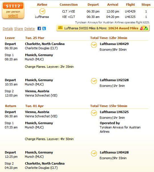 Last minute Lufthansa flight from Charlotte to Vienna details